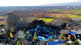 Theme park panoramic view Icelandic area with wooden coaster. Aerial view to the giant roller coaster Wodan in the Icelandic themed area of Europa Park Rust Royalty Free Stock Image