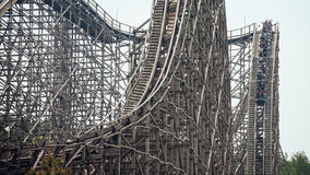 Free Wooden Roller Coaster With A Steep Drop Stock Image - 97597181