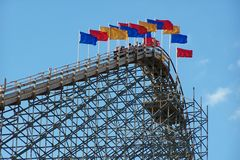 Wooden rollercoaster Royalty Free Stock Photos
