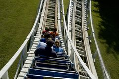 Wooden rollercoaster. Going down a hill on an old wooden rollercoaster Stock Images