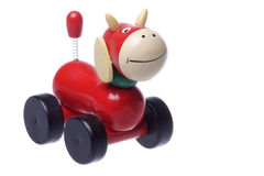 Wooden Rolling Cow Toy Isolated Royalty Free Stock Photos