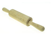 Wooden rolling pin isolated on white background Stock Image