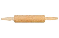 Wooden rolling pin kitchen utensil over white Royalty Free Stock Photography