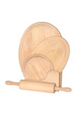 Wooden rolling-pin and three w. Ooden chopping boards isolated on white background Stock Photos