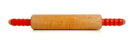 Wooden rolling pin on white Royalty Free Stock Photos