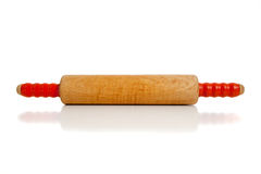 Wooden rolling pin on white Royalty Free Stock Images