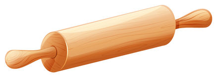 Wooden rolling pin on white background Royalty Free Stock Photos