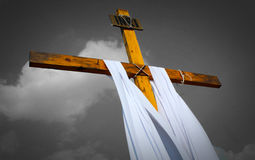 Wooden rood with black and white cloudy background Stock Images