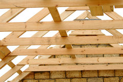 Wooden roof. Building of brick house with the wooden roof Stock Images