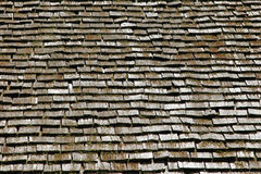 Wooden roof. Background with moss Royalty Free Stock Photo
