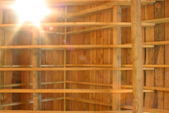 Wooden Roof. View if the beams in a wooden roof Stock Photo