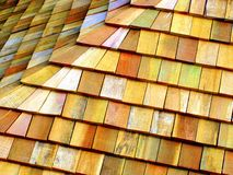 Wooden Roof. A beautiful pattern of the wooden blocks, on the roof of a house Royalty Free Stock Image