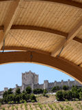 Wooden roof with antique castle and trees. Royalty Free Stock Images