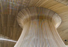 Wooden roof art. Wooden structure at the centre of the welsh assembly Royalty Free Stock Photos