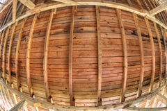 Wooden roof background in fish-eye perspective Royalty Free Stock Image