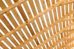 Wooden roof construction. Building in progress. House constructi Stock Photography