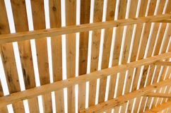 Wooden roof construction. Building in progress. House constructi Stock Photo