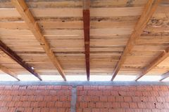 Wooden roof construction Stock Photo
