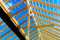 Wooden roof construction Royalty Free Stock Image