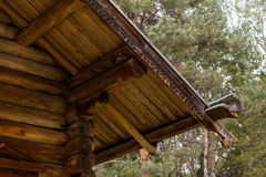 Wooden roof details. Old north russian style roof ornament Royalty Free Stock Photos