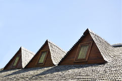 Wooden roof dormers traditional Romanian Royalty Free Stock Images