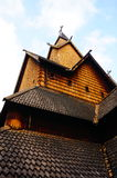 Wooden roof elements of the stave church, Norway Stock Images