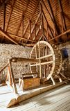 Wooden roof frame in an old house in the countryside. New home construction with wooden house frame building wooden building wooden construction royalty free stock images