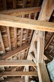 Wooden roof frame in an old house in the countryside. New home construction with wooden house frame building wooden building wooden construction royalty free stock image