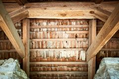 Wooden roof frame in an old house in the countryside. New home construction with wooden house frame building wooden building wooden construction royalty free stock photos