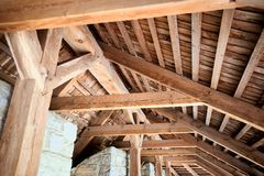 Wooden roof frame in an old house in the countryside. New home construction with wooden house frame building wooden building wooden construction stock photos