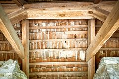 Wooden roof frame in an old house in the countryside. New home construction with wooden house frame building wooden building wooden construction stock photo