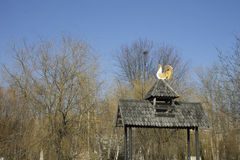 Wooden roof gazebo and a rooster. The central park of Ternopil, Ukraine Royalty Free Stock Images