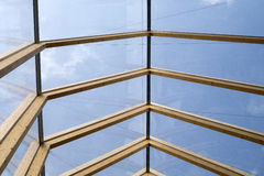 Wooden roof and glass Stock Photos