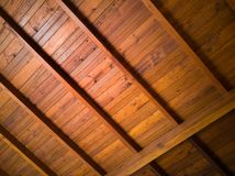 A wooden roof of a house stock photography