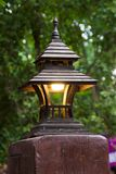 Wooden roof lamp Royalty Free Stock Image