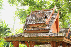 Wooden roof. The roof is made of wood, last for a long time will not corrode faster when lack of maintenance Stock Photography