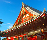 Wooden roof ornaments of a small pavilion in Senso-ji Temple. Stock Photos