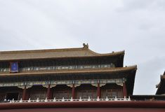 Wooden Roof Pagoda of the Meridian Gate from the Palace Museum in Beijing. Upper part design of Meridian Gate of the Palace Museum from Forbidden City the Former stock images