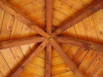Wooden roof with radial beams Stock Photo