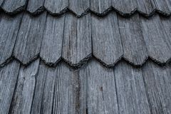 Wooden roof shingles. Texture and background royalty free stock photo