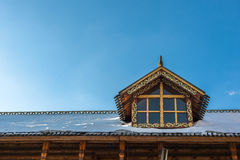 The wooden roof with snow of the Izmailovo Kremlin. Moscow Stock Photo