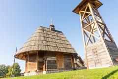 Wooden roof of St. Sava Church in Drvengrad of Kusturica, Serbia stock photo