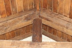 Wooden roof support beams royalty free stock photos