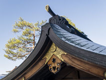 Wooden roof of a temple in Kyoto Stock Image