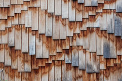 Wooden roof texture. Brown wooden tile background Stock Photos