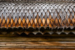 Wooden roof. Texture of the old style russian church roof Royalty Free Stock Photo