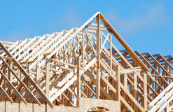Wooden Roof Trusses. Construction of a house / frame royalty free stock photography