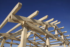Wooden roof during under construction Royalty Free Stock Photography