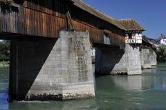 Wooden Roofed Bridge of Bad Saeckingen, Germany Stock Image