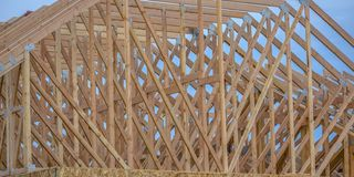 Wooden rooftop beams close up zoom royalty free stock photography